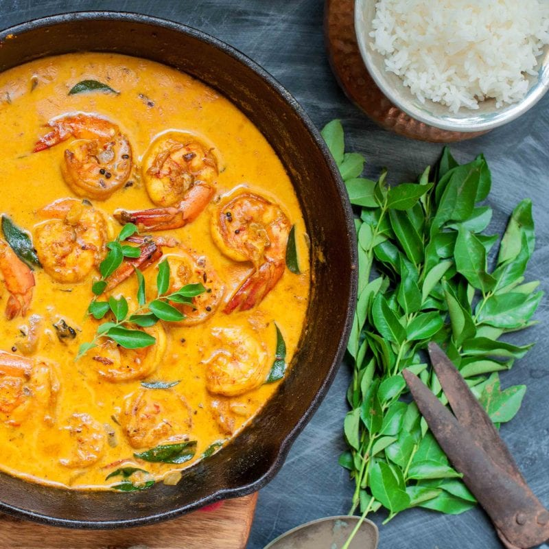 Easy to make Kerala Prawn Curry - Malabar Chemmeen Curry with Coconut Milk