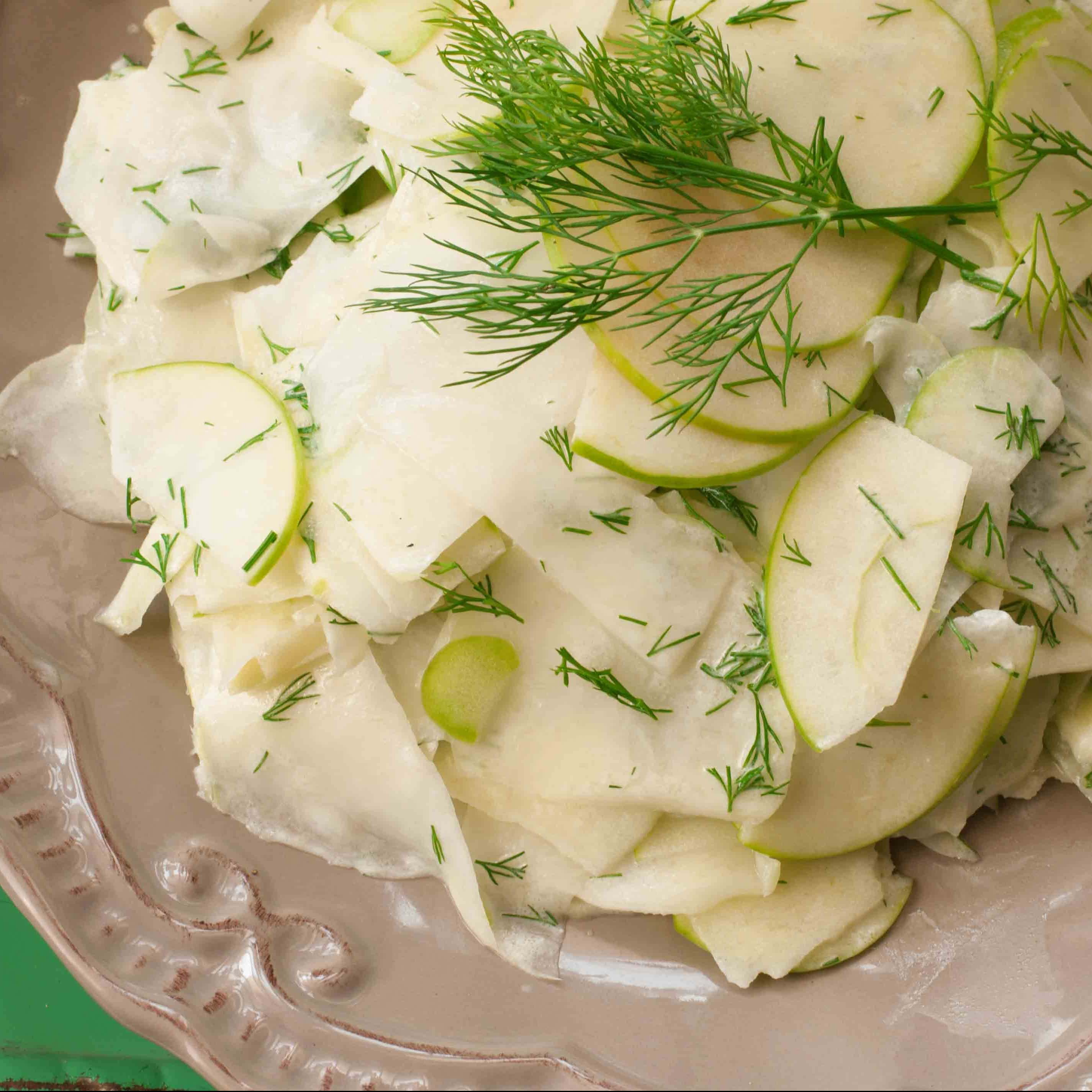 Kolrabhi and Apple Salad with yogurt fennel dressing