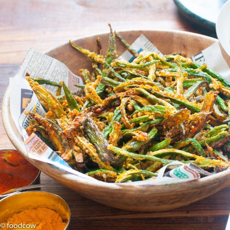 Kurkure Bhindi Fry - Indian Crispy Fried Ladies Finger with besan and spices.Vegan dish with no onion or garlic