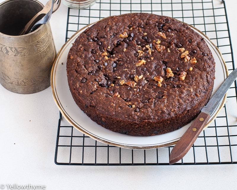 Healthy Ragi Banana Cake with Chocolate Chips and Walnuts - Eggless and Gluten Free Cake made with un refined Sugar ,Oats and Finger Millet.