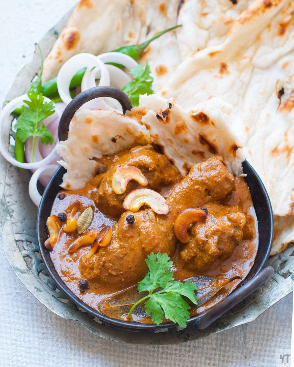 Mughlai Chicken Korma -North Indian Chicken Curry made Cashews,Poppy Seeds and whole Spices.A quick Instant Pot recipe and slow stove top recipe included. #instantpot #korma #chickenkorma #mughlai #northindianchicken #chickencurry